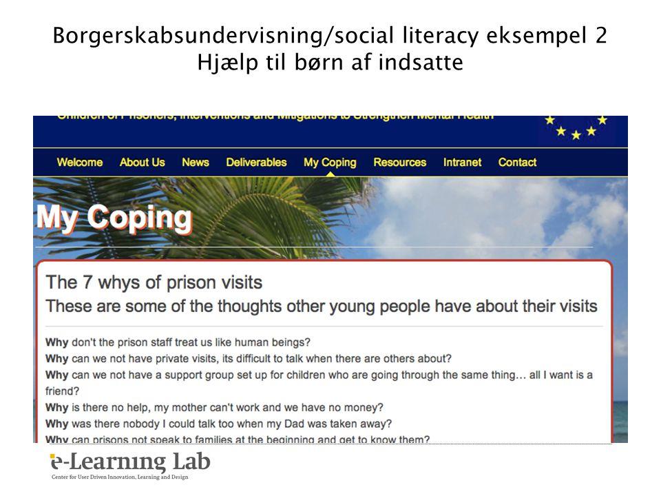 Borgerskabsundervisning/social literacy eksempel 2 Hjælp til børn af indsatte