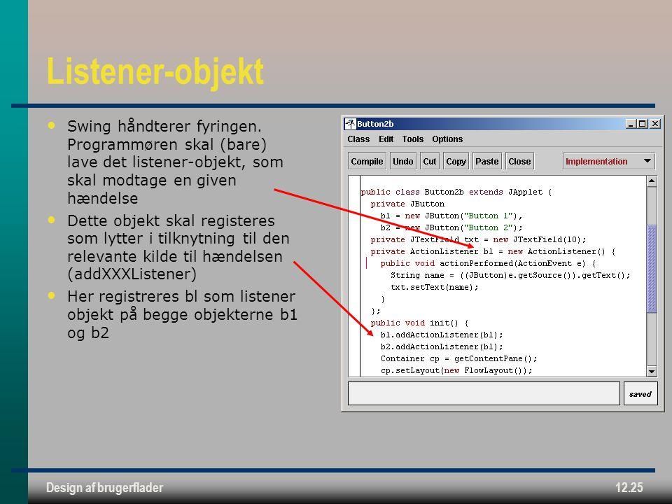 Design af brugerflader12.25 Listener-objekt Swing håndterer fyringen.