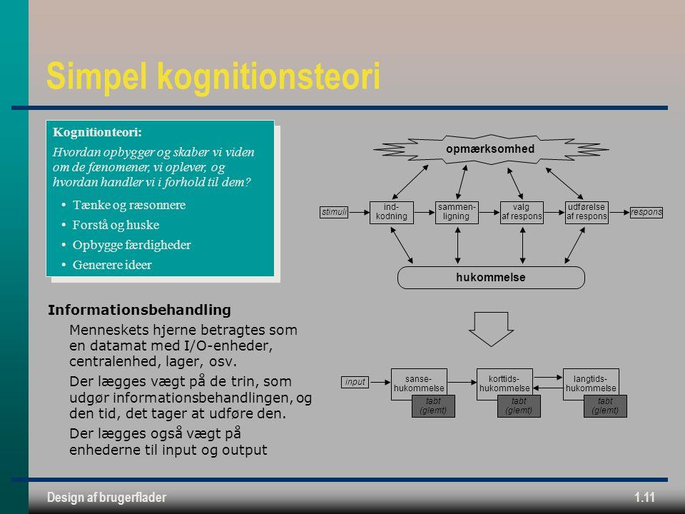 Design af brugerflader1.11 Simpel kognitionsteori Informationsbehandling Menneskets hjerne betragtes som en datamat med I/O-enheder, centralenhed, lager, osv.