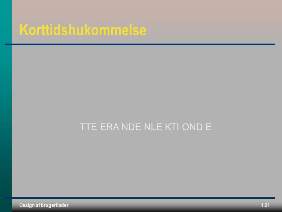 Design af brugerflader1.21 Korttidshukommelse TTE ERA NDE NLE KTI OND E