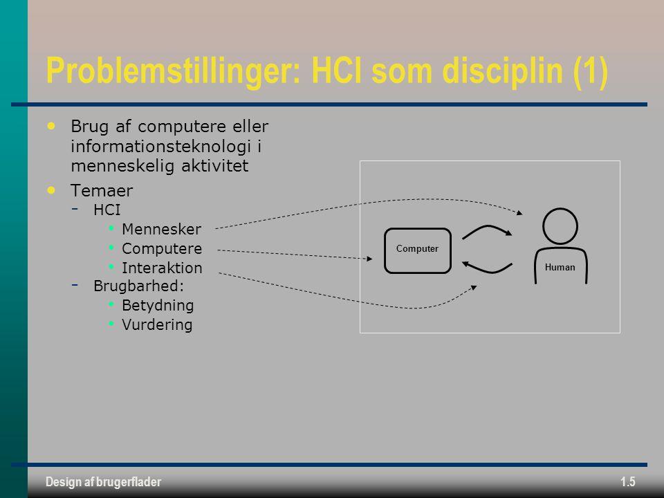 Design af brugerflader1.5 Problemstillinger: HCI som disciplin (1) Brug af computere eller informationsteknologi i menneskelig aktivitet Temaer  HCI Mennesker Computere Interaktion  Brugbarhed: Betydning Vurdering Computer Human