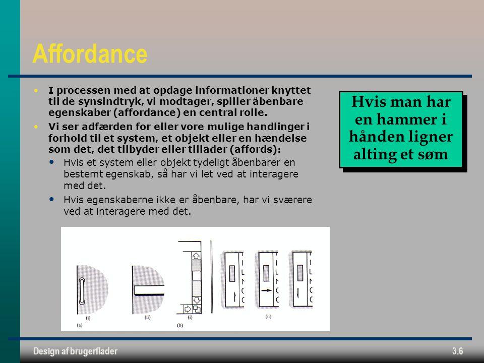 Design af brugerflader3.6 Affordance I processen med at opdage informationer knyttet til de synsindtryk, vi modtager, spiller åbenbare egenskaber (affordance) en central rolle.