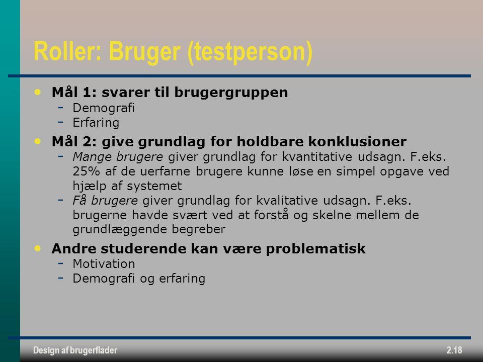 Design af brugerflader2.18 Roller: Bruger (testperson) Mål 1: svarer til brugergruppen  Demografi  Erfaring Mål 2: give grundlag for holdbare konklusioner  Mange brugere giver grundlag for kvantitative udsagn.