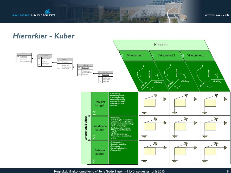 Regnskab & økonomistyring v/ Jens Godik Højen – HD 5. semester forår 2010 Hierarkier - Kuber 8