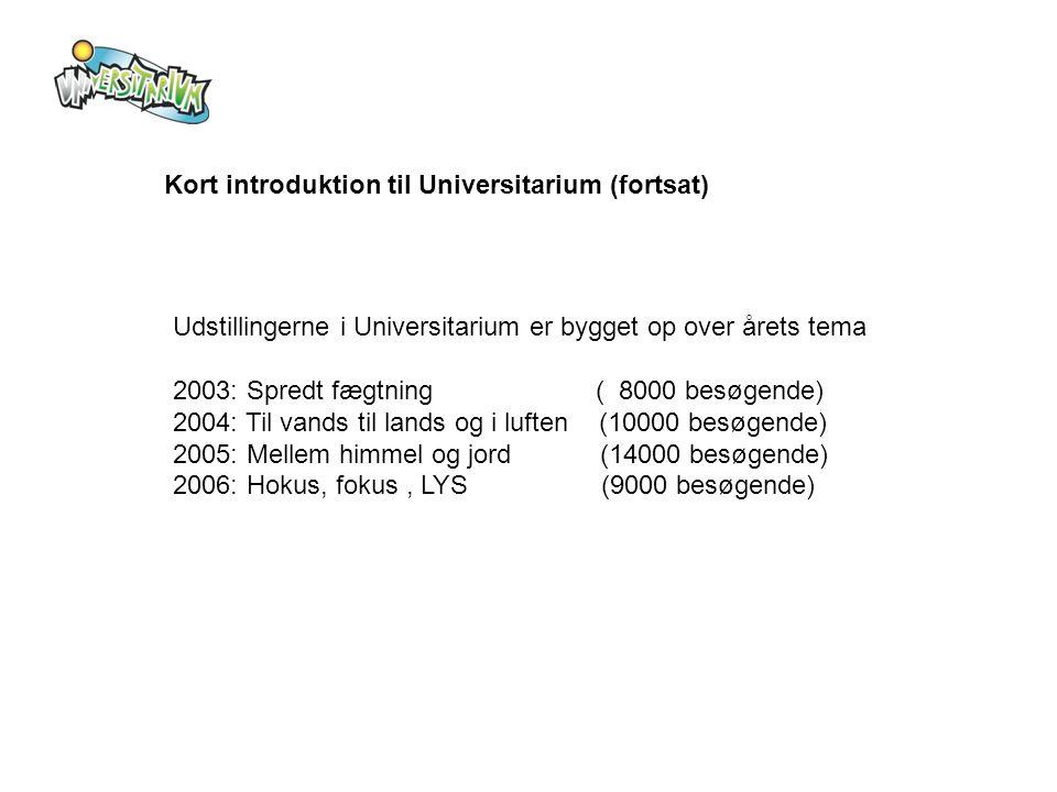 Kort introduktion til Universitarium (fortsat) Udstillingerne i Universitarium er bygget op over årets tema 2003: Spredt fægtning ( 8000 besøgende) 2004: Til vands til lands og i luften (10000 besøgende) 2005: Mellem himmel og jord (14000 besøgende) 2006: Hokus, fokus, LYS (9000 besøgende)
