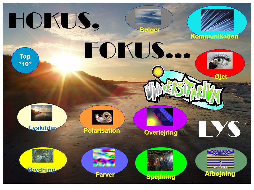 HOKUS, FOKUS… Farver Brydning Spejlning Lyskilder Polarisation LYS Øjet Bølger Overlejring Kommunikation Top 10 Afbøjning