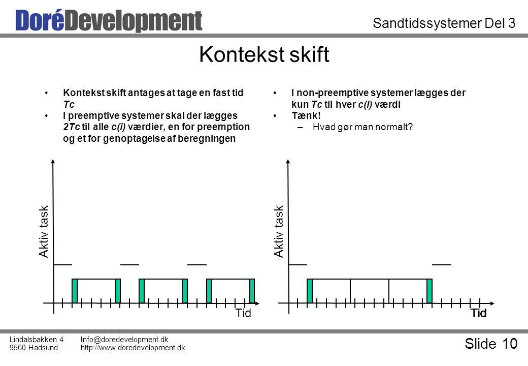 Slide 10 Lindalsbakken 4 9560 Hadsund Info@doredevelopment.dk http://www.doredevelopment.dk Sandtidssystemer Del 3 Kontekst skift Kontekst skift antages at tage en fast tid Tc I preemptive systemer skal der lægges 2Tc til alle c(i) værdier, en for preemption og et for genoptagelse af beregningen I non-preemptive systemer lægges der kun Tc til hver c(i) værdi Tænk.