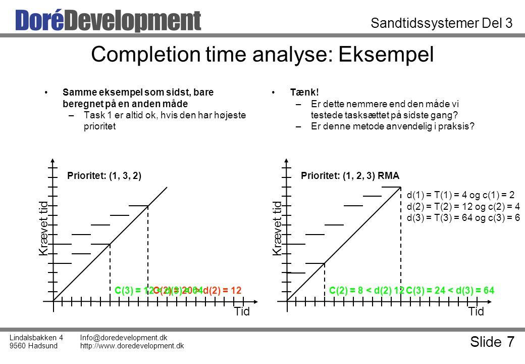 Slide 7 Lindalsbakken 4 9560 Hadsund Info@doredevelopment.dk http://www.doredevelopment.dk Sandtidssystemer Del 3 Completion time analyse: Eksempel Samme eksempel som sidst, bare beregnet på en anden måde –Task 1 er altid ok, hvis den har højeste prioritet Tænk.