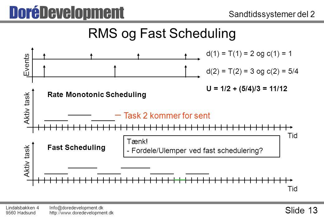 Slide 13 Lindalsbakken 4 9560 Hadsund Info@doredevelopment.dk http://www.doredevelopment.dk Sandtidssystemer del 2 RMS og Fast Scheduling Tid Aktiv task Tid Aktiv task Task 2 kommer for sent Events d(1) = T(1) = 2 og c(1) = 1 d(2) = T(2) = 3 og c(2) = 5/4 U = 1/2 + (5/4)/3 = 11/12 Rate Monotonic Scheduling Fast Scheduling Tænk.