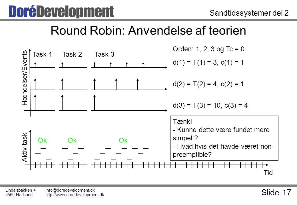 Slide 17 Lindalsbakken 4 9560 Hadsund Info@doredevelopment.dk http://www.doredevelopment.dk Sandtidssystemer del 2 Round Robin: Anvendelse af teorien Tid Aktiv task Hændelser/Events d(1) = T(1) = 3, c(1) = 1 d(2) = T(2) = 4, c(2) = 1 d(3) = T(3) = 10, c(3) = 4 Task 1Task 2Task 3 Orden: 1, 2, 3 og Tc = 0 Ok Tænk.