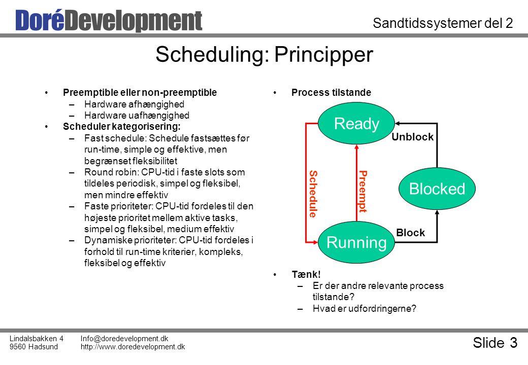 Slide 3 Lindalsbakken 4 9560 Hadsund Info@doredevelopment.dk http://www.doredevelopment.dk Sandtidssystemer del 2 Scheduling: Principper Preemptible eller non-preemptible –Hardware afhængighed –Hardware uafhængighed Scheduler kategorisering: –Fast schedule: Schedule fastsættes før run-time, simple og effektive, men begrænset fleksibilitet –Round robin: CPU-tid i faste slots som tildeles periodisk, simpel og fleksibel, men mindre effektiv –Faste prioriteter: CPU-tid fordeles til den højeste prioritet mellem aktive tasks, simpel og fleksibel, medium effektiv –Dynamiske prioriteter: CPU-tid fordeles i forhold til run-time kriterier, kompleks, fleksibel og effektiv Process tilstande Tænk.