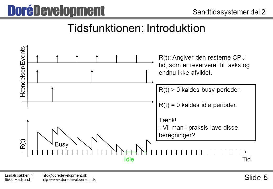 Slide 5 Lindalsbakken 4 9560 Hadsund Info@doredevelopment.dk http://www.doredevelopment.dk Sandtidssystemer del 2 Tidsfunktionen: Introduktion Tid R(t) Hændelser/Events R(t): Angiver den resterne CPU tid, som er reserveret til tasks og endnu ikke afviklet.