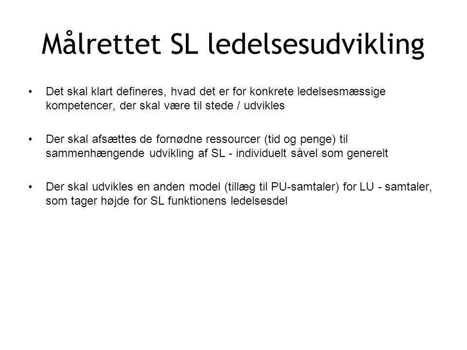 Målrettet SL ledelsesudvikling Det skal klart defineres, hvad det er for konkrete ledelsesmæssige kompetencer, der skal være til stede / udvikles Der skal afsættes de fornødne ressourcer (tid og penge) til sammenhængende udvikling af SL - individuelt såvel som generelt Der skal udvikles en anden model (tillæg til PU-samtaler) for LU - samtaler, som tager højde for SL funktionens ledelsesdel
