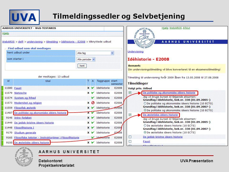 UVA Præsentation UVA A A R H U S U N I V E R S I T E T Datakontoret Projektsekretariatet Tilmeldingssedler og Selvbetjening