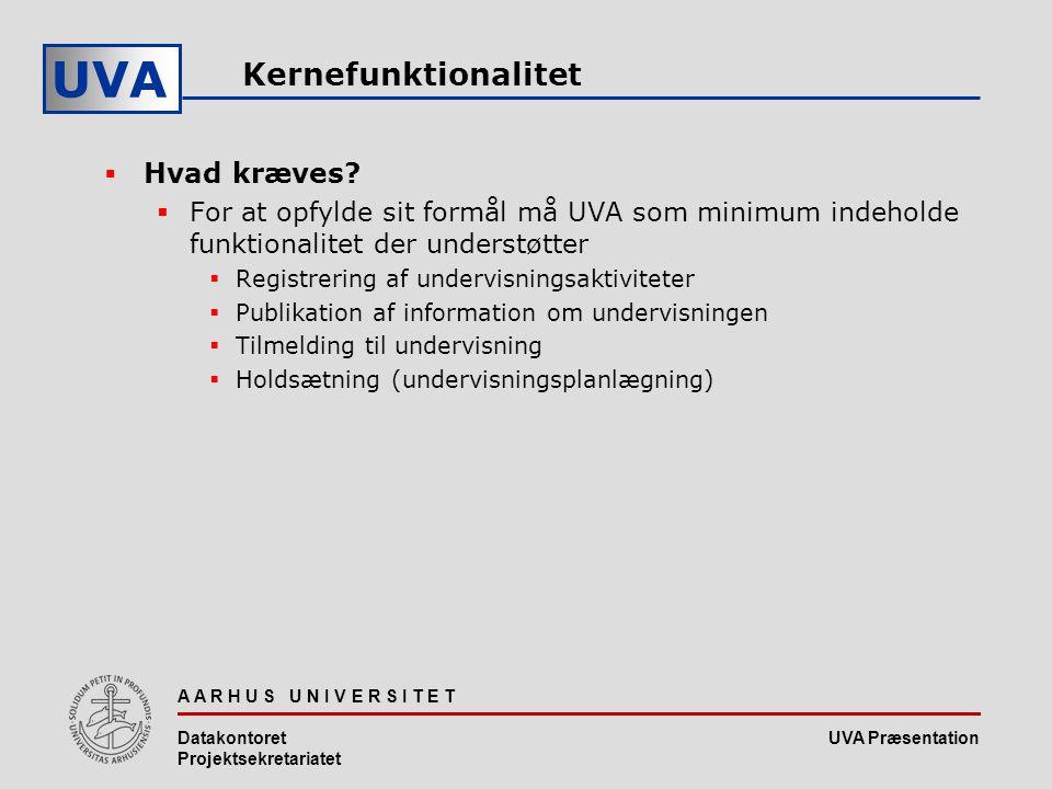 UVA Præsentation UVA A A R H U S U N I V E R S I T E T Datakontoret Projektsekretariatet Kernefunktionalitet  Hvad kræves.