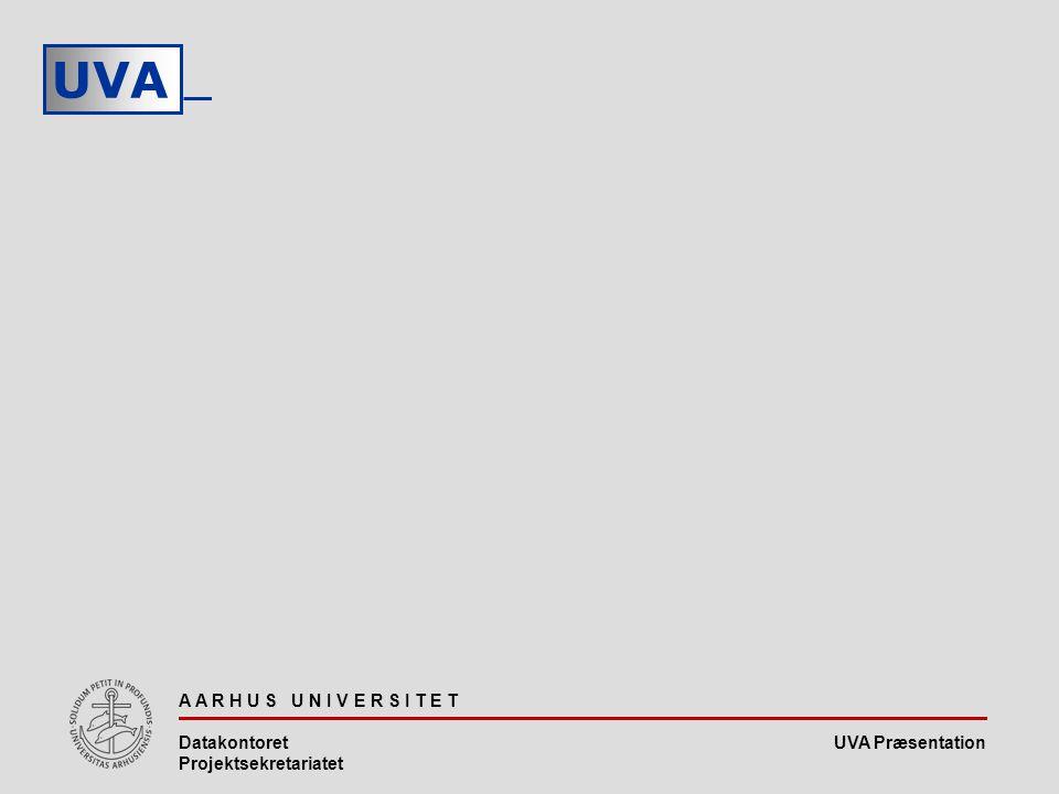 UVA Præsentation UVA A A R H U S U N I V E R S I T E T Datakontoret Projektsekretariatet