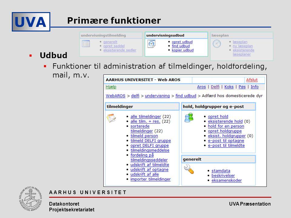 UVA Præsentation UVA A A R H U S U N I V E R S I T E T Datakontoret Projektsekretariatet Primære funktioner  Udbud  Funktioner til administration af tilmeldinger, holdfordeling, mail, m.v.