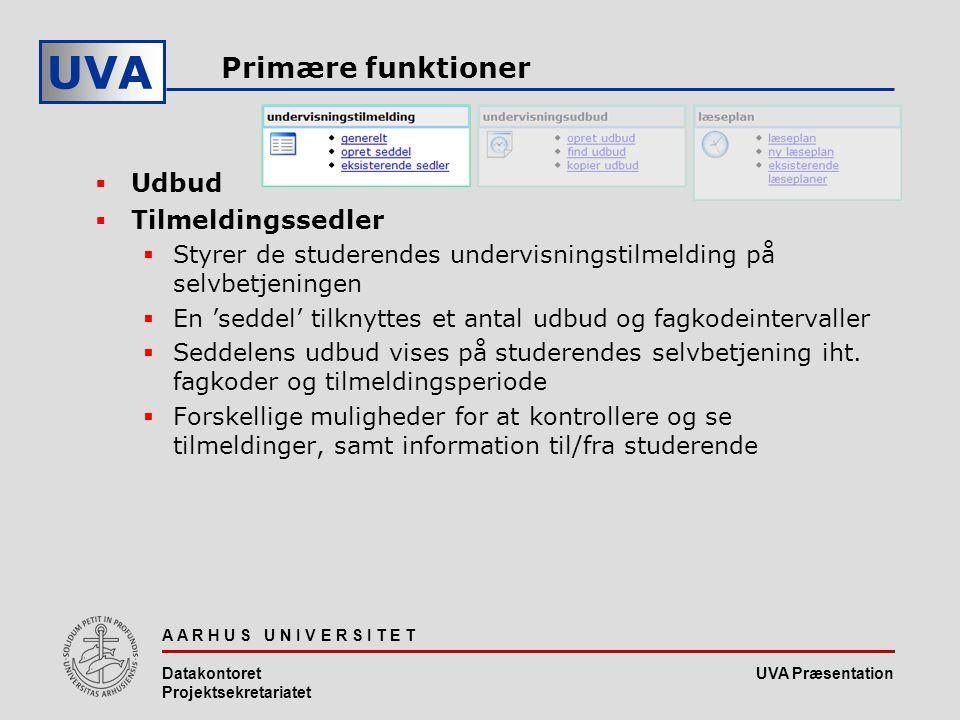UVA Præsentation UVA A A R H U S U N I V E R S I T E T Datakontoret Projektsekretariatet Primære funktioner  Udbud  Tilmeldingssedler  Styrer de studerendes undervisningstilmelding på selvbetjeningen  En 'seddel' tilknyttes et antal udbud og fagkodeintervaller  Seddelens udbud vises på studerendes selvbetjening iht.