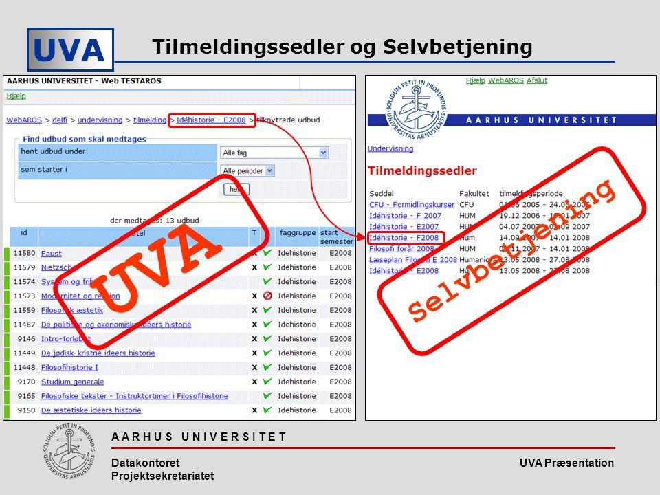 UVA Præsentation UVA A A R H U S U N I V E R S I T E T Datakontoret Projektsekretariatet Tilmeldingssedler og Selvbetjening UVA Selvbetjening