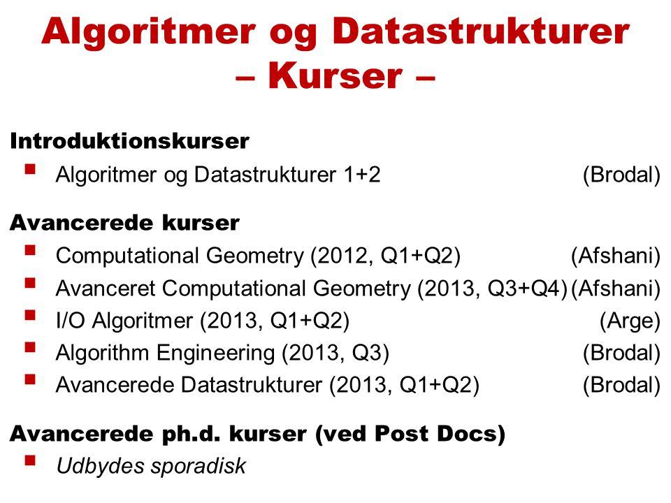 Introduktionskurser  Algoritmer og Datastrukturer 1+2(Brodal) Avancerede kurser  Computational Geometry (2012, Q1+Q2)(Afshani)  Avanceret Computational Geometry (2013, Q3+Q4)(Afshani)  I/O Algoritmer (2013, Q1+Q2) (Arge)  Algorithm Engineering (2013, Q3)(Brodal)  Avancerede Datastrukturer (2013, Q1+Q2)(Brodal) Avancerede ph.d.