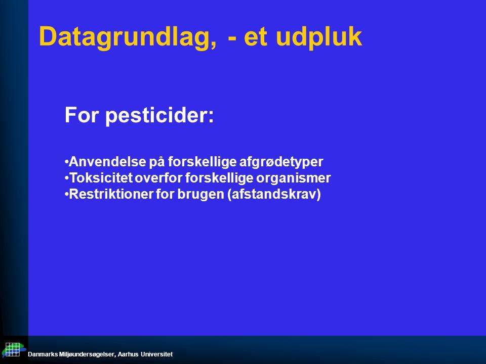 Danmarks Miljøundersøgelser, Aarhus Universitet Datagrundlag, - et udpluk For pesticider: Anvendelse på forskellige afgrødetyper Toksicitet overfor forskellige organismer Restriktioner for brugen (afstandskrav)