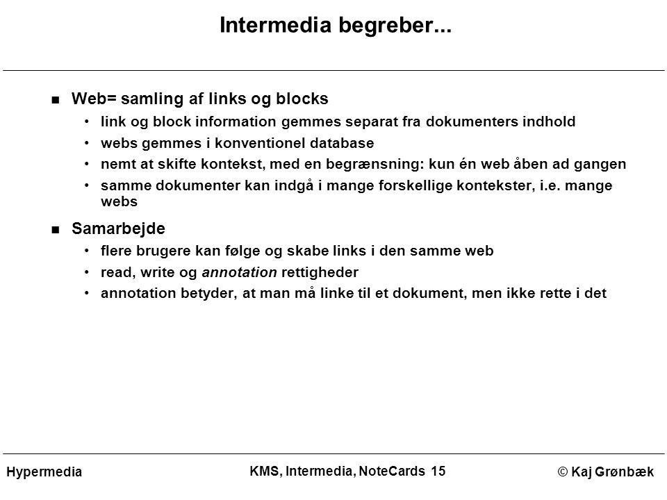 KMS, Intermedia, NoteCards 15 © Kaj GrønbækHypermedia Intermedia begreber...
