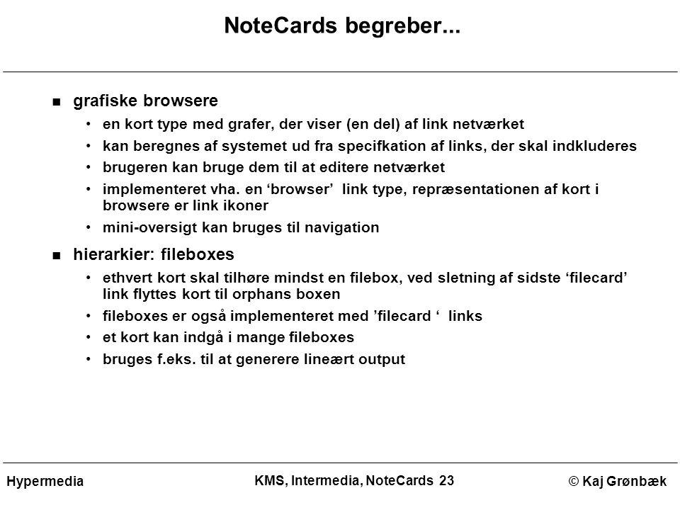 KMS, Intermedia, NoteCards 23 © Kaj GrønbækHypermedia NoteCards begreber...