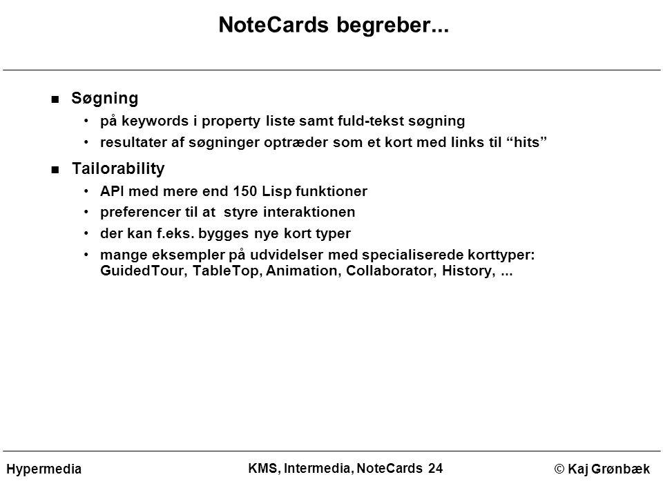 KMS, Intermedia, NoteCards 24 © Kaj GrønbækHypermedia NoteCards begreber...