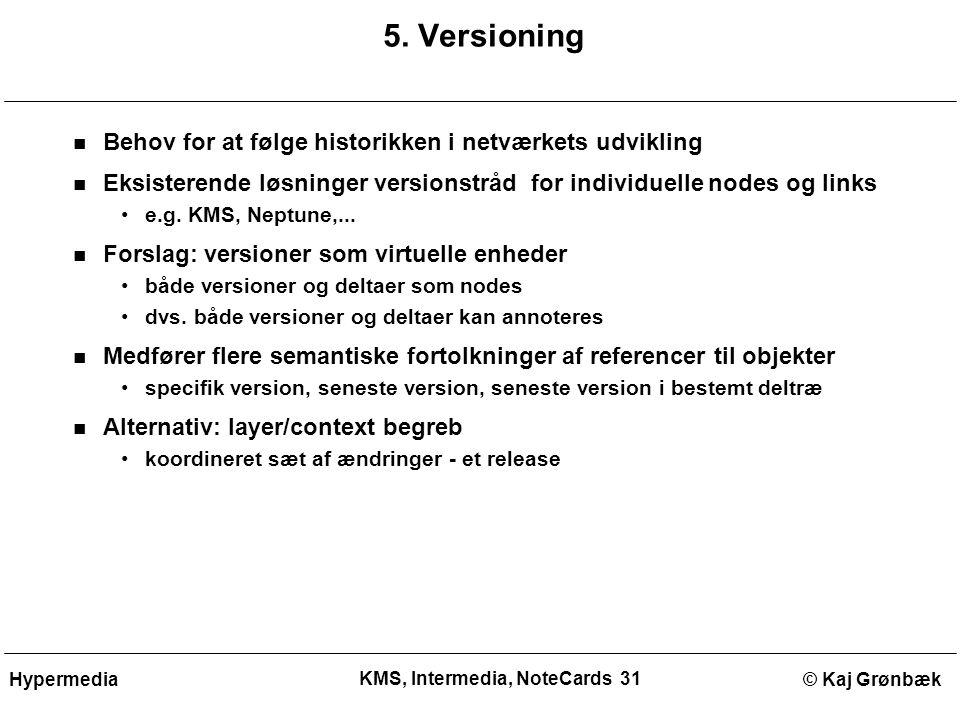 KMS, Intermedia, NoteCards 31 © Kaj GrønbækHypermedia 5.