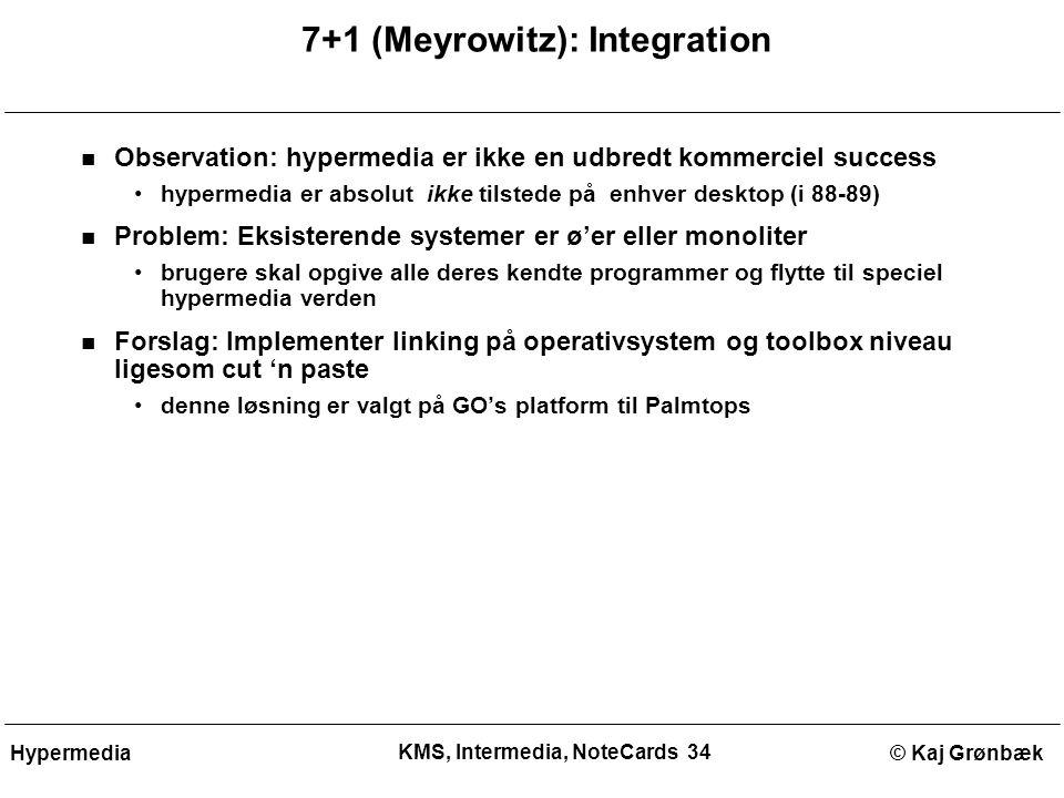 KMS, Intermedia, NoteCards 34 © Kaj GrønbækHypermedia 7+1 (Meyrowitz): Integration Observation: hypermedia er ikke en udbredt kommerciel success hypermedia er absolut ikke tilstede på enhver desktop (i 88-89) Problem: Eksisterende systemer er ø'er eller monoliter brugere skal opgive alle deres kendte programmer og flytte til speciel hypermedia verden Forslag: Implementer linking på operativsystem og toolbox niveau ligesom cut 'n paste denne løsning er valgt på GO's platform til Palmtops