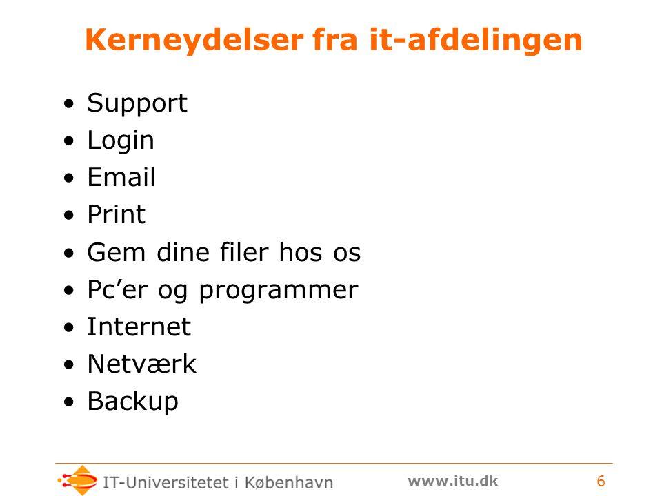 www.itu.dk 6 Kerneydelser fra it-afdelingen Support Login Email Print Gem dine filer hos os Pc'er og programmer Internet Netværk Backup