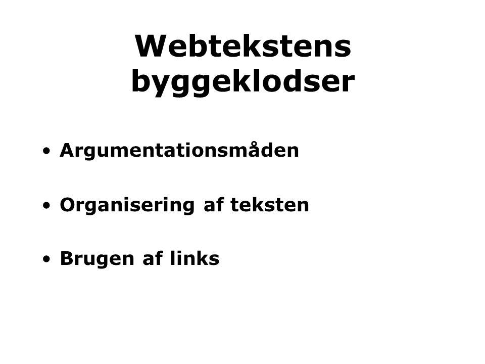 Webtekstens byggeklodser Argumentationsmåden Organisering af teksten Brugen af links