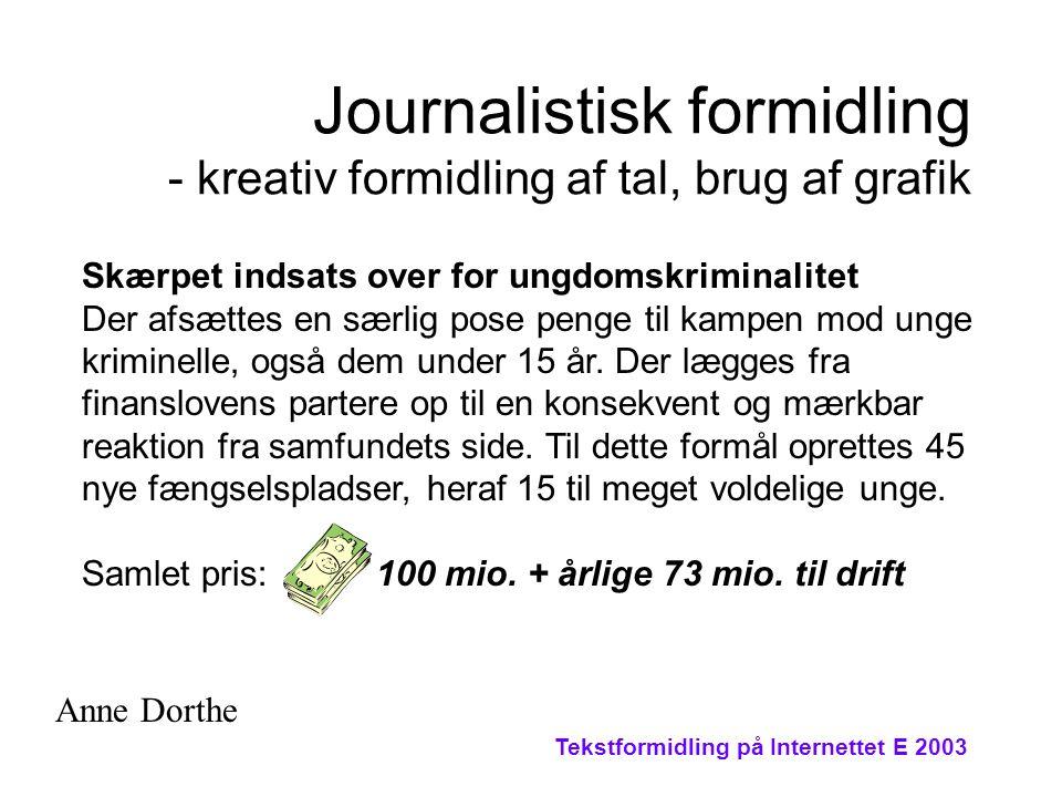 Tekstformidling på Internettet E 2003 Journalistisk formidling - kreativ formidling af tal, brug af grafik Skærpet indsats over for ungdomskriminalitet Der afsættes en særlig pose penge til kampen mod unge kriminelle, også dem under 15 år.