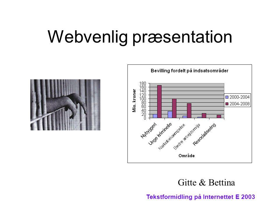 Tekstformidling på Internettet E 2003 Webvenlig præsentation Gitte & Bettina