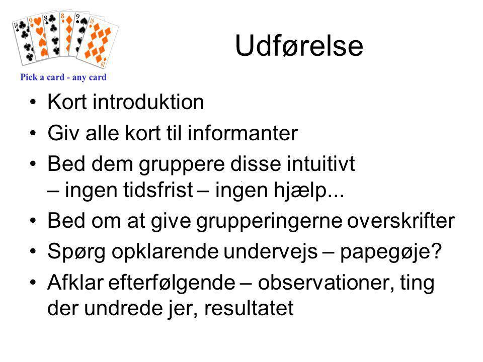 Udførelse Kort introduktion Giv alle kort til informanter Bed dem gruppere disse intuitivt – ingen tidsfrist – ingen hjælp...