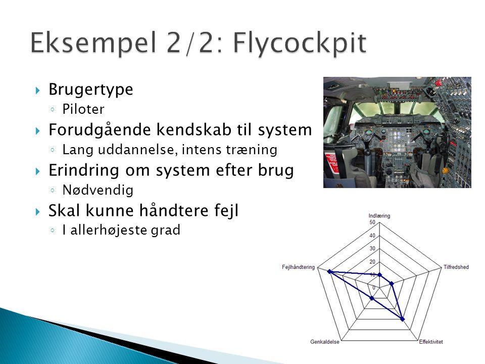  Brugertype ◦ Piloter  Forudgående kendskab til system ◦ Lang uddannelse, intens træning  Erindring om system efter brug ◦ Nødvendig  Skal kunne håndtere fejl ◦ I allerhøjeste grad
