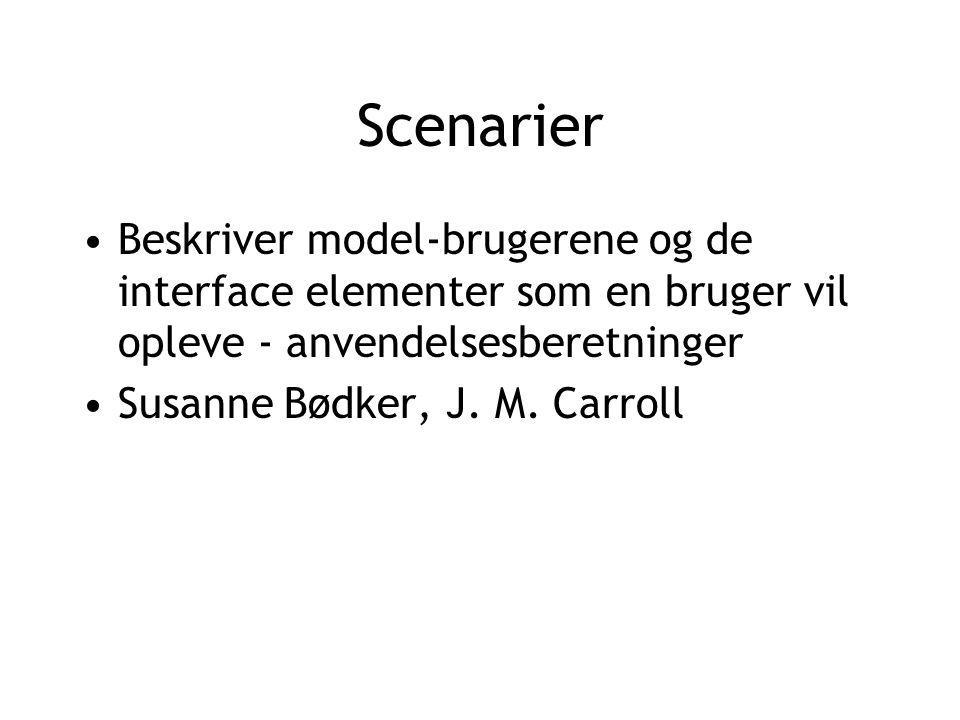 Scenarier Beskriver model-brugerene og de interface elementer som en bruger vil opleve - anvendelsesberetninger Susanne Bødker, J.