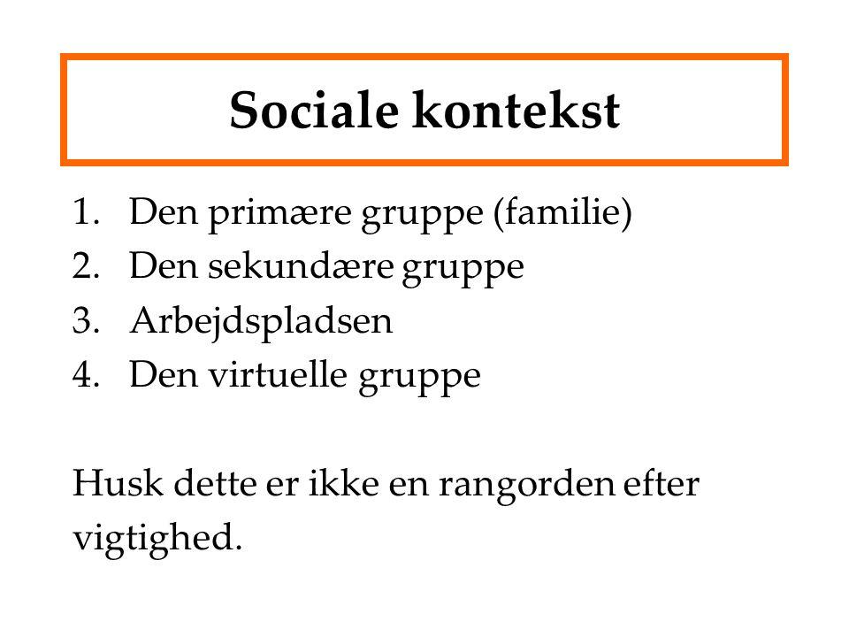 Sociale kontekst 1.Den primære gruppe (familie) 2.Den sekundære gruppe 3.Arbejdspladsen 4.Den virtuelle gruppe Husk dette er ikke en rangorden efter vigtighed.