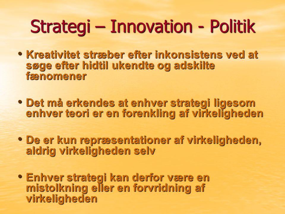 Strategi – Innovation - Politik Kreativitet stræber efter inkonsistens ved at søge efter hidtil ukendte og adskilte fænomener Kreativitet stræber efter inkonsistens ved at søge efter hidtil ukendte og adskilte fænomener Det må erkendes at enhver strategi ligesom enhver teori er en forenkling af virkeligheden Det må erkendes at enhver strategi ligesom enhver teori er en forenkling af virkeligheden De er kun repræsentationer af virkeligheden, aldrig virkeligheden selv De er kun repræsentationer af virkeligheden, aldrig virkeligheden selv Enhver strategi kan derfor være en mistolkning eller en forvridning af virkeligheden Enhver strategi kan derfor være en mistolkning eller en forvridning af virkeligheden