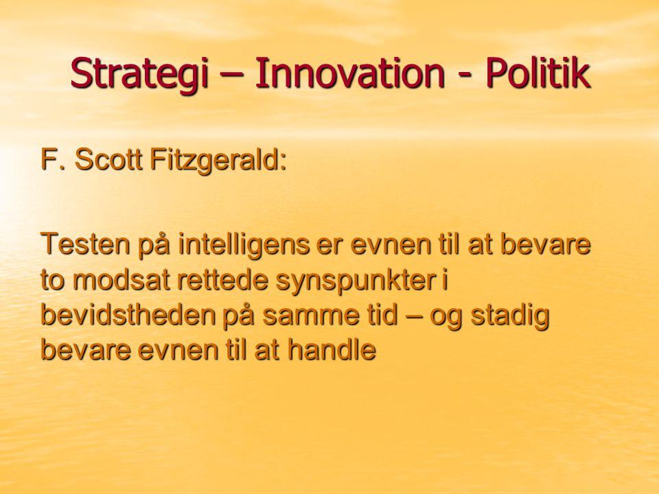 Strategi – Innovation - Politik F.