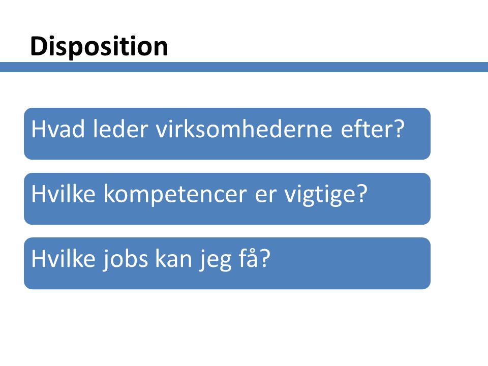 Disposition Hvad leder virksomhederne efter Hvilke kompetencer er vigtige Hvilke jobs kan jeg få