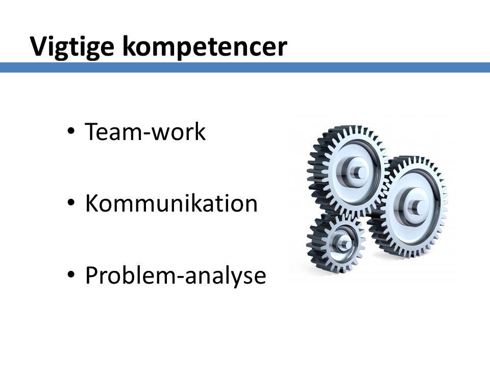 Vigtige kompetencer Team-work Kommunikation Problem-analyse