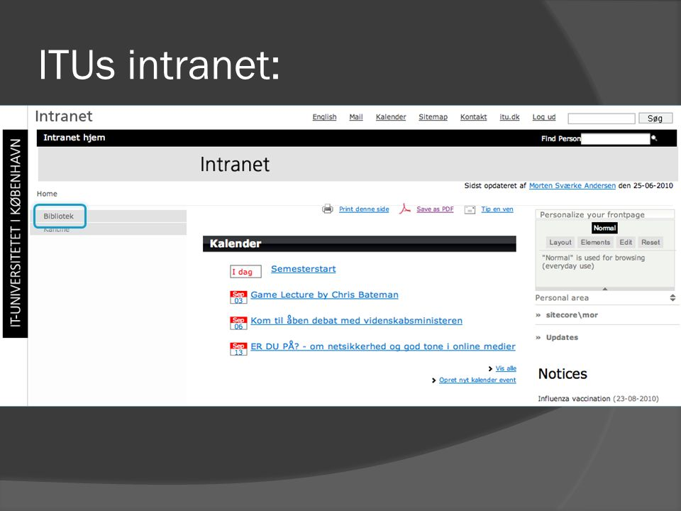 ITUs intranet: