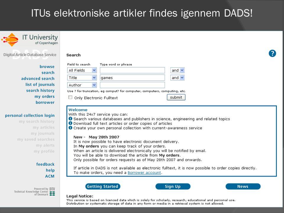 ITUs elektroniske artikler findes igennem DADS!