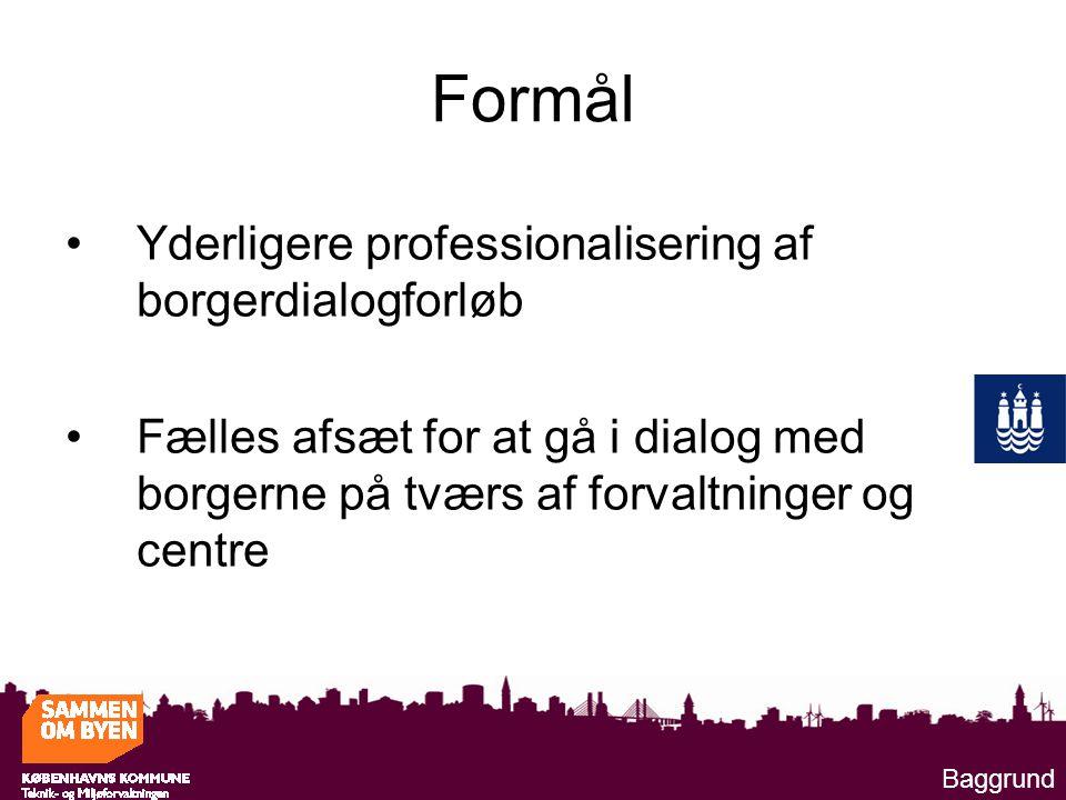 Formål Yderligere professionalisering af borgerdialogforløb Fælles afsæt for at gå i dialog med borgerne på tværs af forvaltninger og centre Baggrund