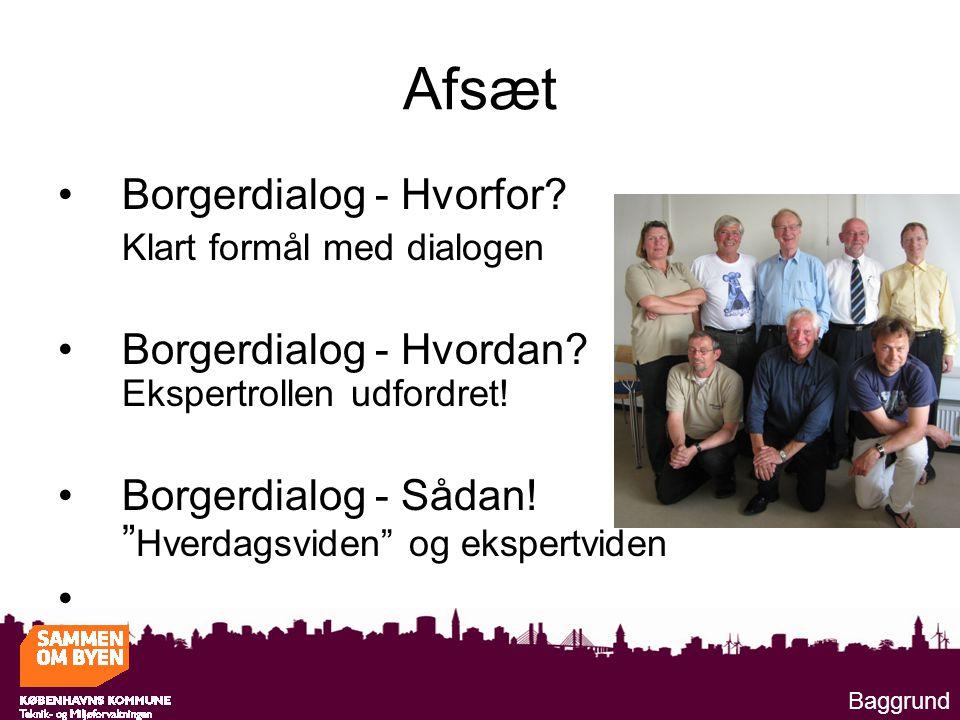 Afsæt Borgerdialog - Hvorfor. Klart formål med dialogen Borgerdialog - Hvordan.