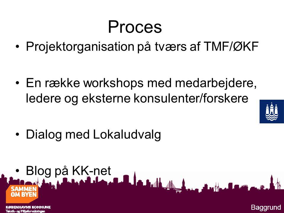 Proces Projektorganisation på tværs af TMF/ØKF En række workshops med medarbejdere, ledere og eksterne konsulenter/forskere Dialog med Lokaludvalg Blog på KK-net Baggrund
