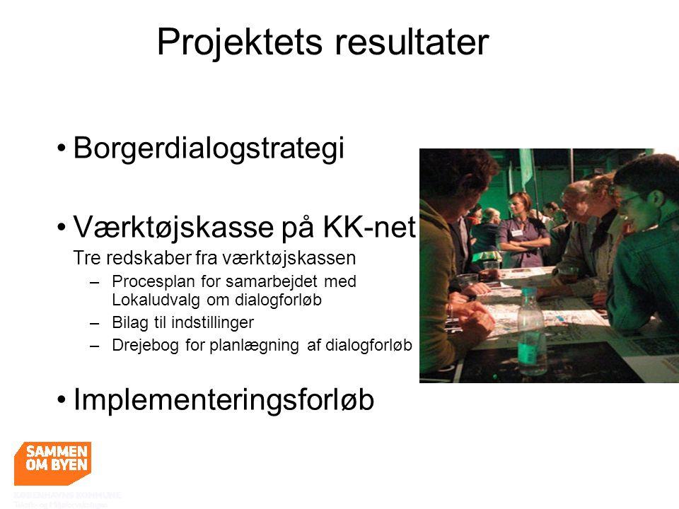 Borgerdialogstrategi Værktøjskasse på KK-net Tre redskaber fra værktøjskassen – Procesplan for samarbejdet med Lokaludvalg om dialogforløb – Bilag til indstillinger – Drejebog for planlægning af dialogforløb Implementeringsforløb Projektets resultater