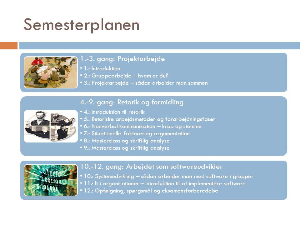 Semesterplanen 1.-3. gang: Projektarbejde 1.: Introduktion 2.: Gruppearbejde – hvem er du.