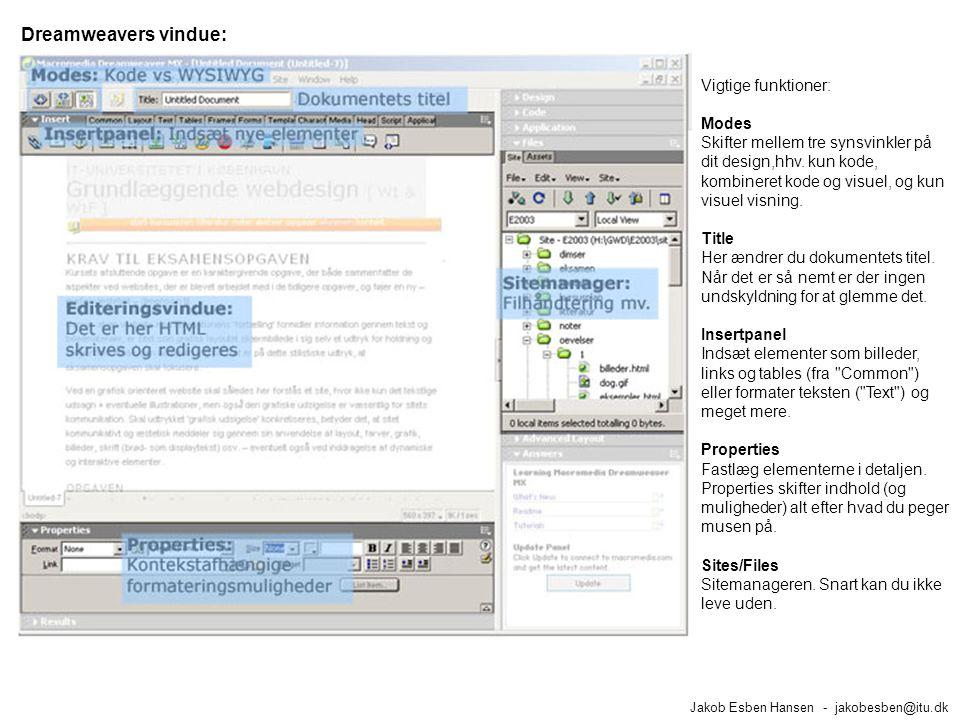 Dreamweavers vindue: Jakob Esben Hansen - jakobesben@itu.dk Vigtige funktioner: Modes Skifter mellem tre synsvinkler på dit design,hhv.